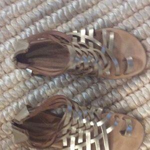New B&B handmade metallic gold zipper Greek sandal